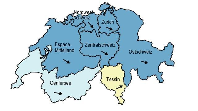 Schweizerkarte mit den Wirtschafts-Grossregionen.