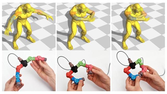 Ein Modell einer Computer-generierten Figur am Bildschirm. Hände halten die ETH Sensoren, die es animiert.