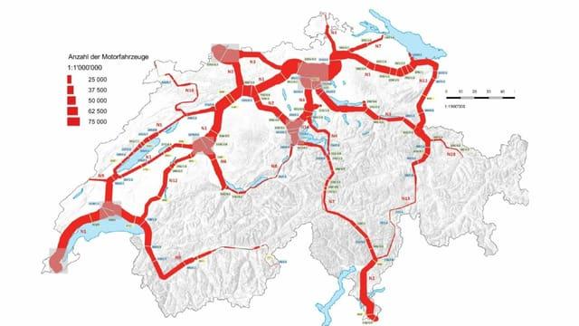 Karte des Schweizer Autobahnnetzes