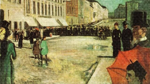 Gemälde von Menschen auf einer Strasse.