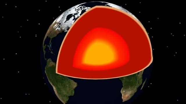 Der  metallische Erdkern in der Grafik hat laut geologischen Modellen einen Durchmesser von knapp 7000 Kilometern.