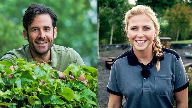 Der Landschaftsarchitekt Nils Honetschläger und die Landschaftsgärtnerin Céline Gurtner bringen ihr Fachwissen in der Sendung «Hinter den Hecken» ein.