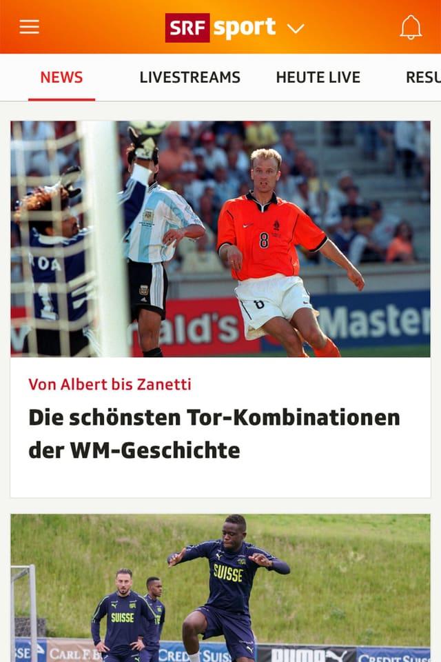Screenshot der Sport App