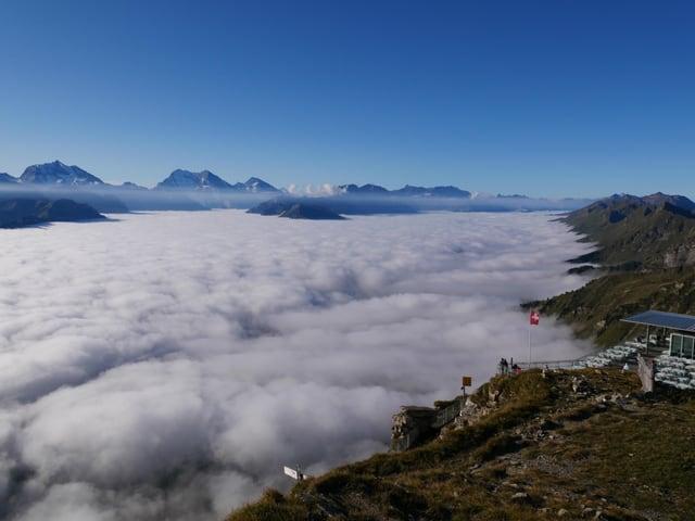 Der Nebel füllt das Tal aus, der Himmel darüber ist klar und blau.