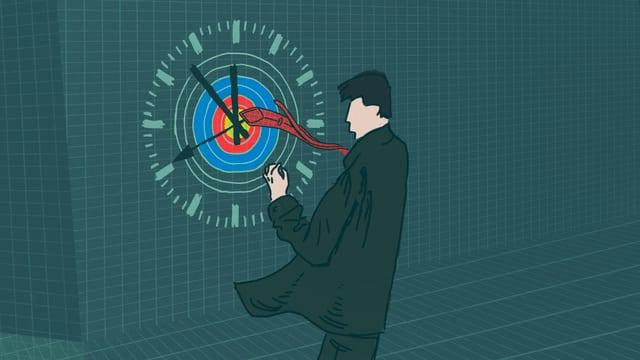 Mann steht vor Uhr in Form einer Zielscheibe.