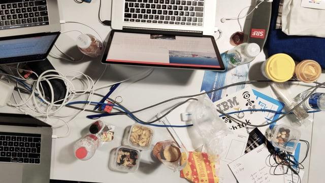 Ein Tisch von oben gesehen, darauf Computer, Kabel, Essenresten und Getränke.