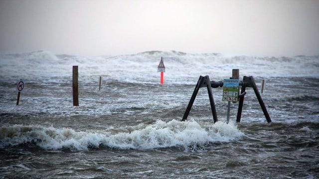 Purtret d'ina riva dasper la mar ch'è inundada.