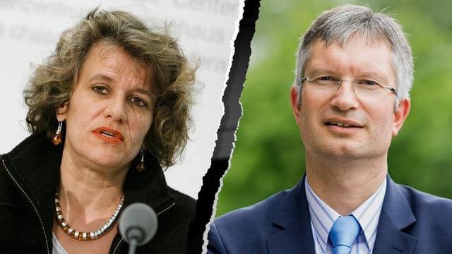 Porträts von Katharina Prelicz-Huber und Roland A. Müller nebeneinander.