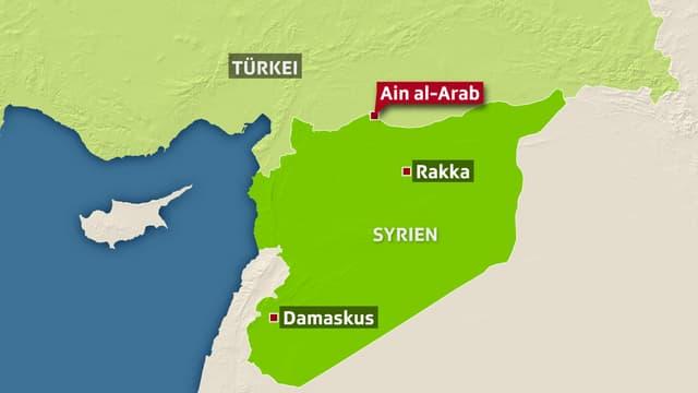 Landkarte von Syrien und der Türkei