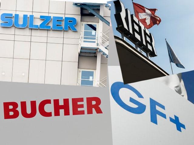 Die vier Schriftzüge der Firmen Sulzer, Bucher, Rieter und GF (Georg Fischer)