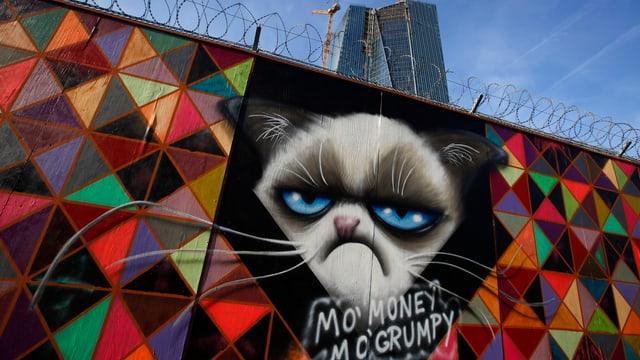 Graffiti an der Wand, der EZB-Baustelle in Frankfurt