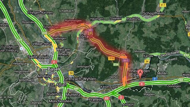 Kartenausschnitt Google Maps, A98 zwischen Rheinfelden und Basel auf Deutschem Boden, rot hervorgehoben