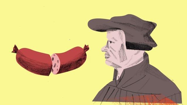 Eine Illustration, die Luther zeigt und eine geteilte Wurst.