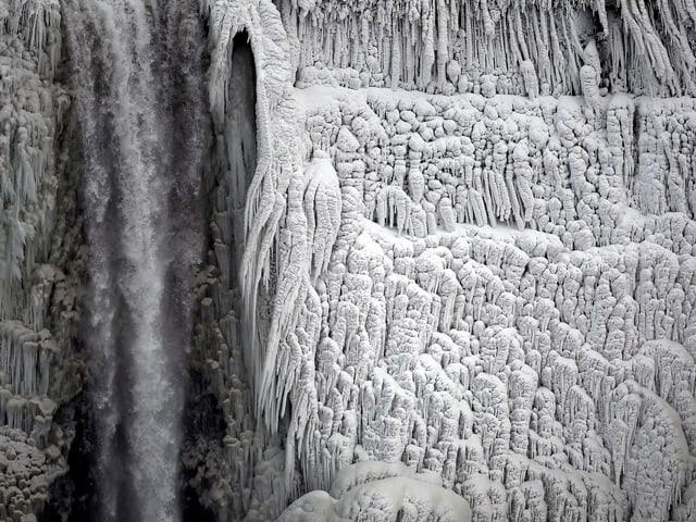 Die Niagarafälle sind mit Eisbildungen dekoriert.
