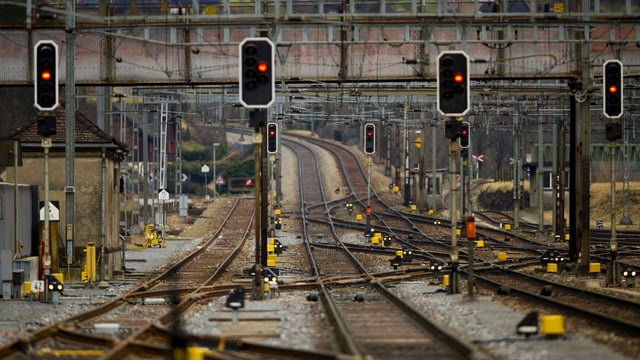 Rote Ampeln und Bahngleise