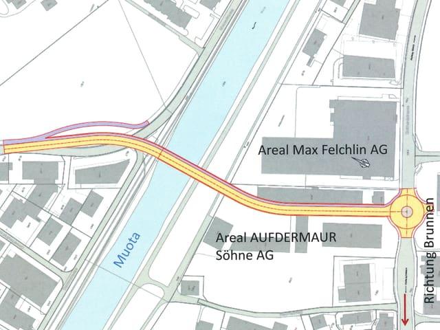 Plan des Industriegebiets Ibach in der Gemeinde Schwyz.