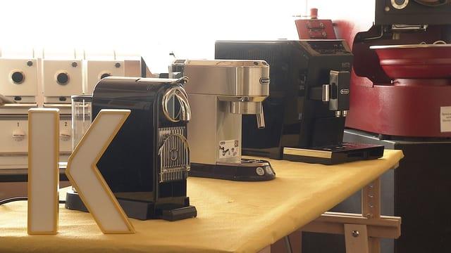 Die drei Kaffeemaschinen im Bild