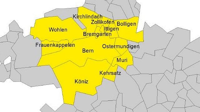 Eine neue starke Region Bern mit 12 Gemeinden. Die These einer neuen Studie im Auftrag des Vereins «Bern neu gründen».