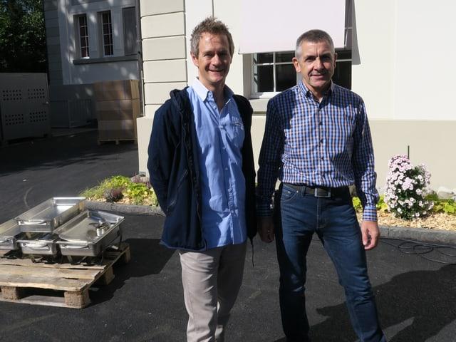 Intendant Samuel Steinemann (links) und Paul Knüsel vom Baudepartement der Stadt Zug.