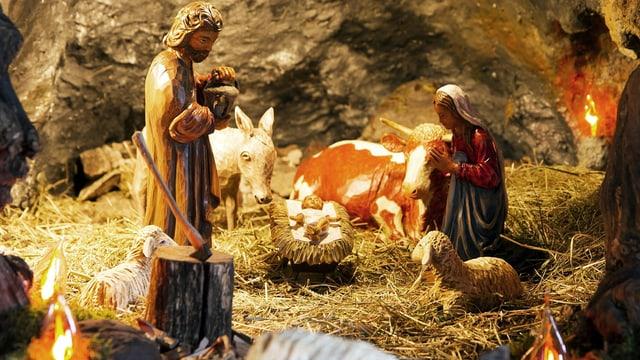 Blick in eine traditionelle Weihnachtskrippe mit Josef, Maria, Jesuskind, Ochse, Esel und ein paar Schafen.