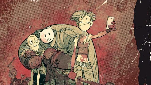 Eine Frau, ein maskierter Serienkiller und ein Zombie. Sie sehen lustig aus.