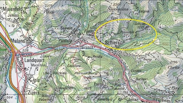 Karte mit gelbem Kreis
