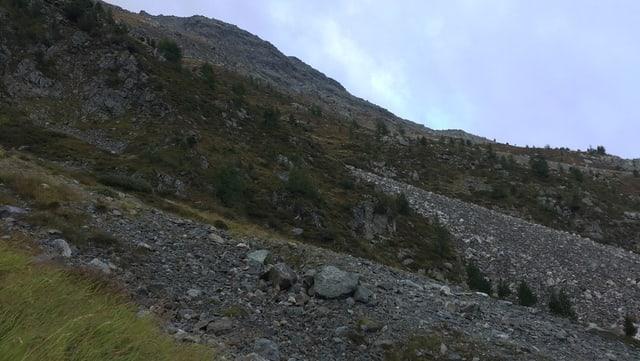 Blick in die alpine Landschaft. Geröllfelder im Vordergrund, hinten der Horizont.