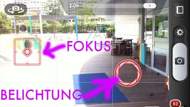 Screenshot einer Foto-App zeigt einen Cursor für Fokus und einen für Belichtungsmessung.