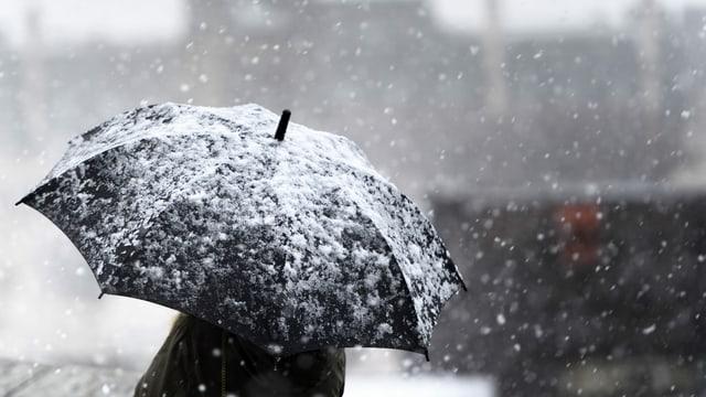 Eine Person mit einem schneebedeckten Schirm.