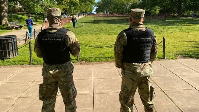 Im Meridian Hill Park im Quartier «Columbia Heights» sorgt die Armee für Ordnung.