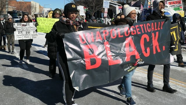 Afroamerikanische Aktivisten in Anacostia am Martin-Luther-King-Day.