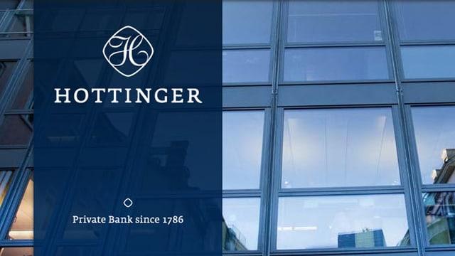 Firmen-Logo der Privatbank Hottinger vor einer Hausfassade
