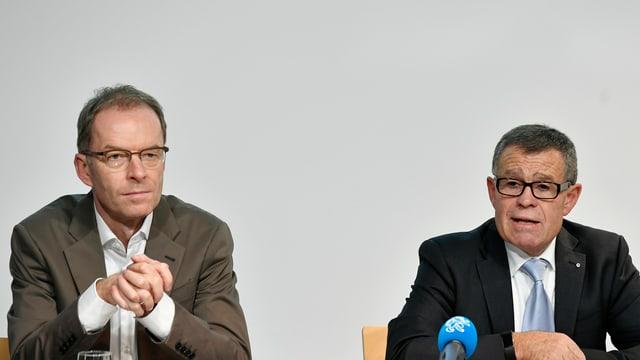 Ernst Stocker und Daniel Leupi an der Medienkonferenz