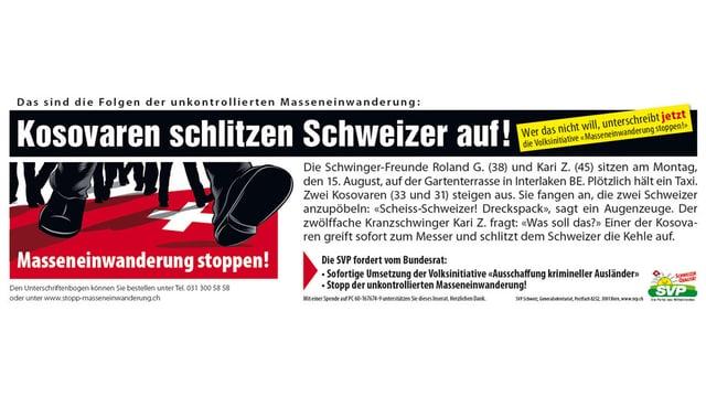 Das sogenannte Schlitzer-Inserat der SVP.