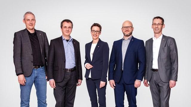 Gruppenbild des Gemeinderat von Ebikon: Vier Männer und eine Frau.