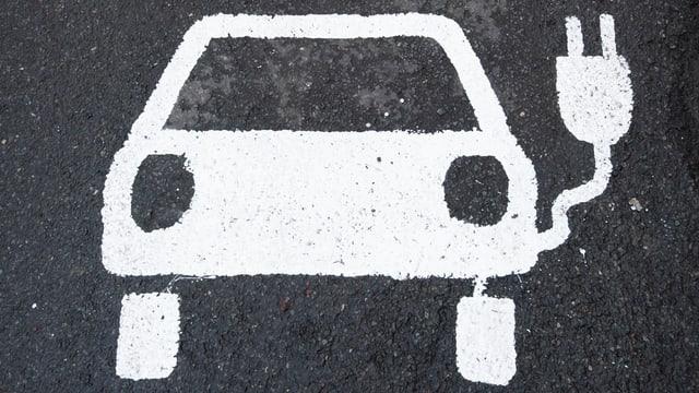 Ein Symbol für ein Elektroauto markiert einen Parkplatz neben einer E-Ladesäule in Deutschland.
