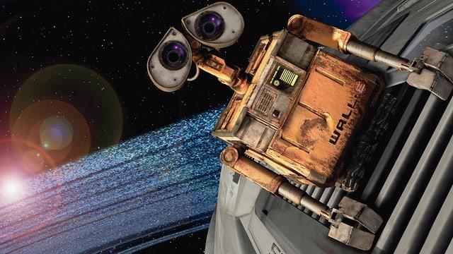 Ein Roboter mit ausdruckstarken Augen blickt liebevoll in die Kamera.