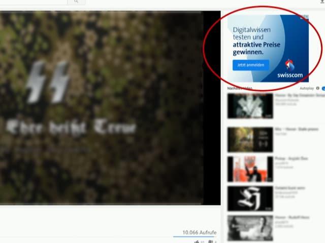 Nazi-Video mit Werbeeinblendung von Swisscom.