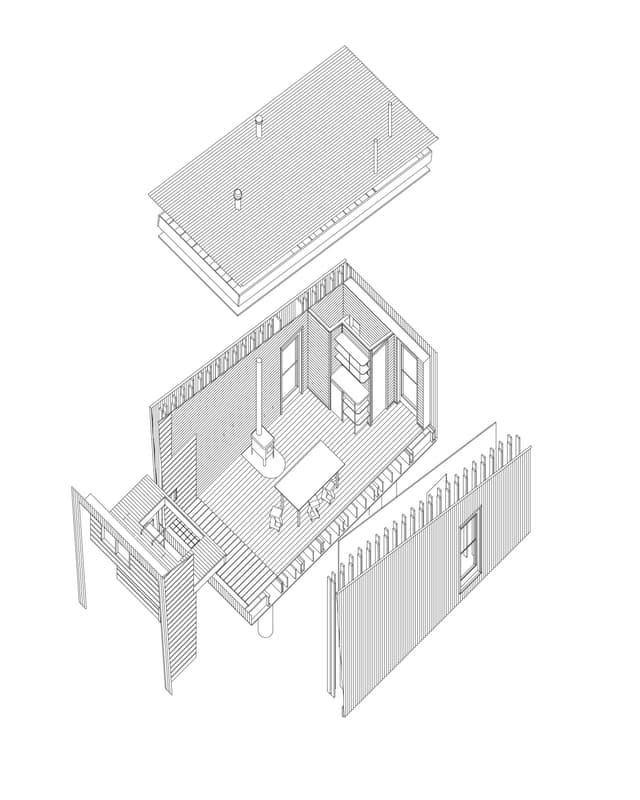 Architekturzeichnung eines kleinen Hauses.