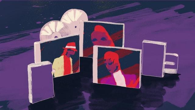 Illustration: Drei CDs mit den Köpfen von Popstars, Michael Jackson, Madonna und Prince nachempfunden.