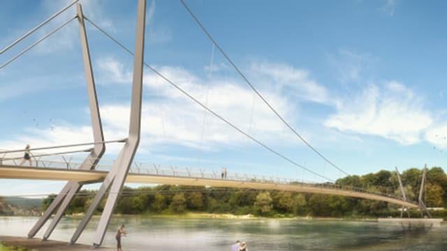 Visualisierung Fussgängersteg über den Rhein