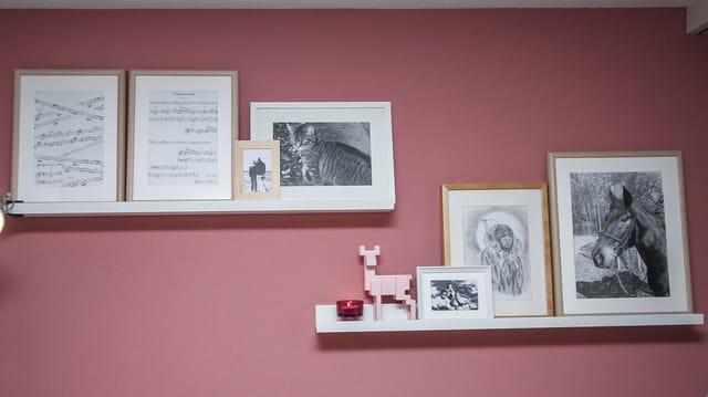 Das Bild zeigt die rosarote Wand mit zwei Bildleisten. Die verschiedenen Bilder darin sind unterschiedlich gross und in weissen und hölzernen Rahmen.
