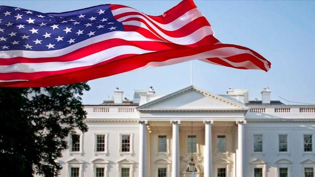 Das Weisse Haus mit einer US-Flagge.