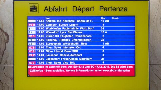 Televisiun cun uras da partenza dals trens.