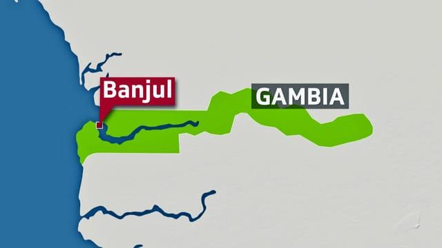 Kartenausschnitt von Gambia.
