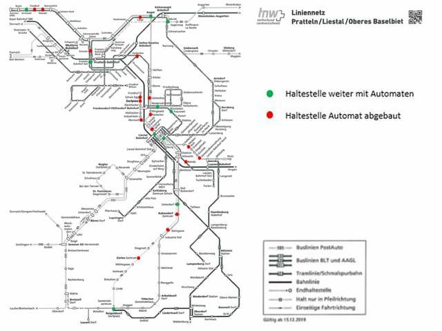 Karte des tnw-Liniennetz im Baselbiet