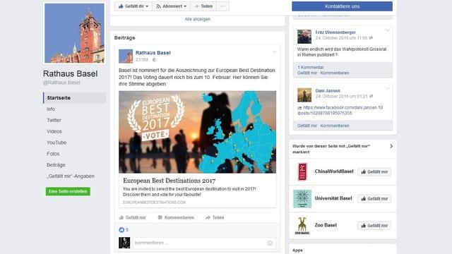 So sieht der Facebook-Auftritt des Kantons Basel-Stadt.