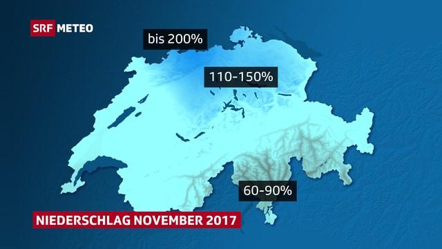 Schweizer Karte mit dem relativen Niederschlag in der Schweiz.