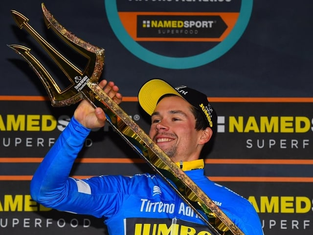 Primoz Roglic nach seinem diesjährigen Gesamtsieg beim Tirreno-Adriatico.