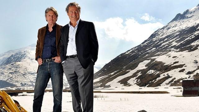 La legenda da skis d'Andermatt Bernhard Russi e l'investider egipzian Samih Sawiris.
